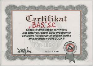 certyfikat dla warsztatu samochodowego bas