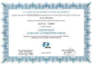 certyfikat zakładu autoryzacyjnego