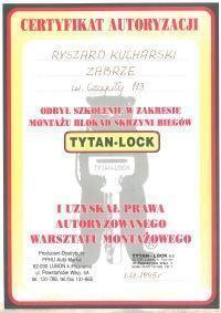 certyfikat autoryzacji tytan-lock