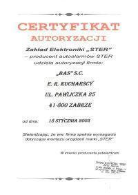 certyfikat autoryzacji zakład elektroniki ster